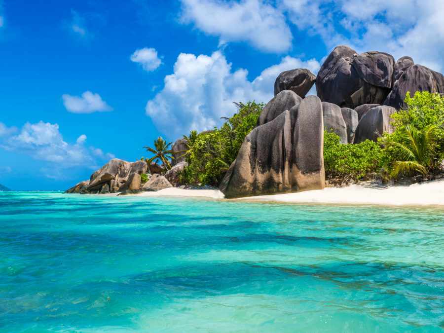 Exotic destination in Seychelles - Anse Source d'Argent - beautiful beach on tropical island La Digue