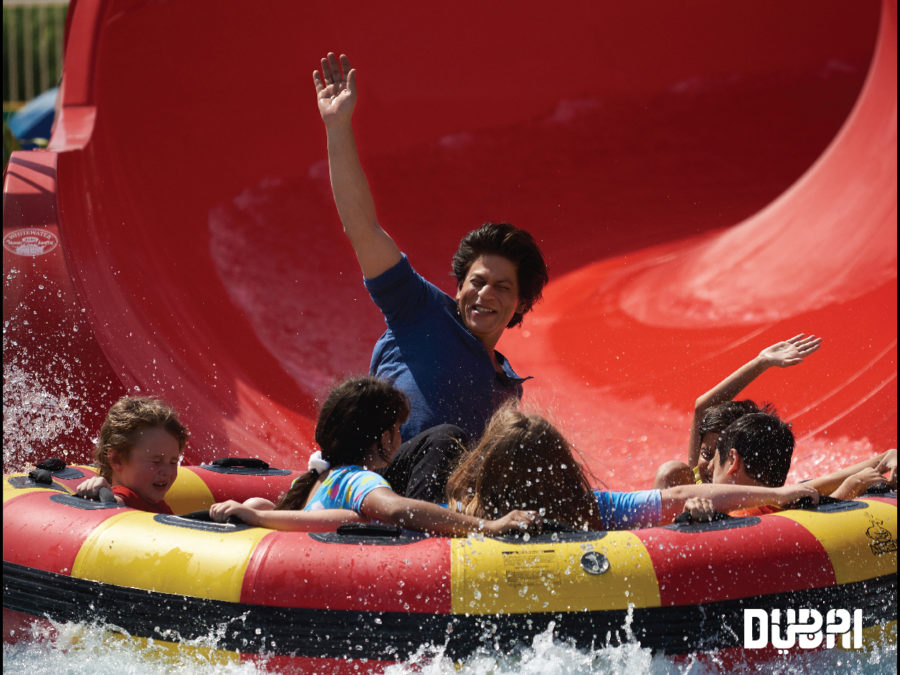 srk on water slide dubai